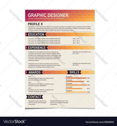 Resume Background by Resume Template Cv Creative Background Royalty Free Vector