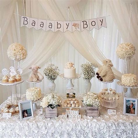 baby shower baby lamb theme dessert table stylist