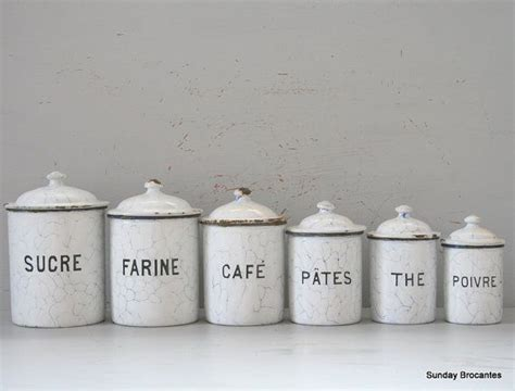 white enamel canister set french  ojays  canister sets
