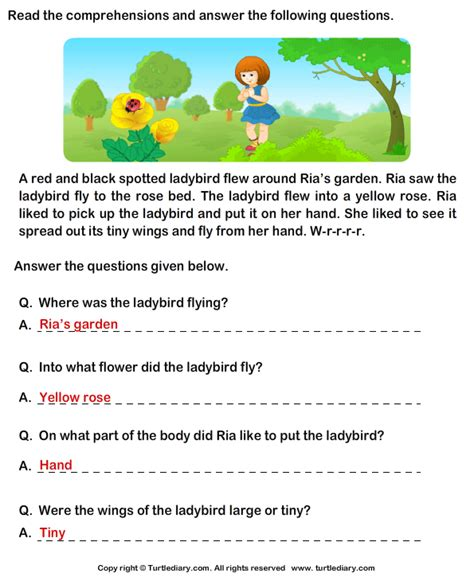 Reading Comprehension Ria Garden Worksheet  Turtle Diary