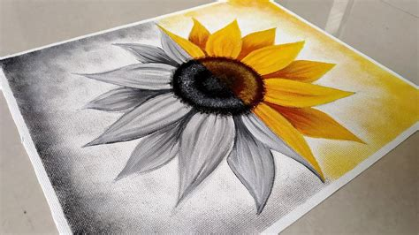 Often times this makes black canvas paintings simpler and less time consuming. Black & White/ Easy Sunflower Acrylic Painting/ How to paint Sunflower / Black & White Painting ...