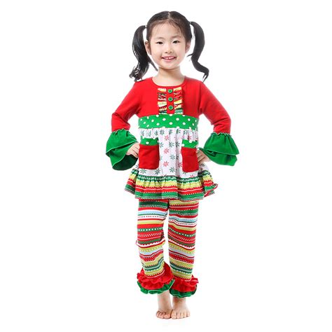 wholesale christmas kids clothes toddler girl clothing boutique clothing fall winter ruffle