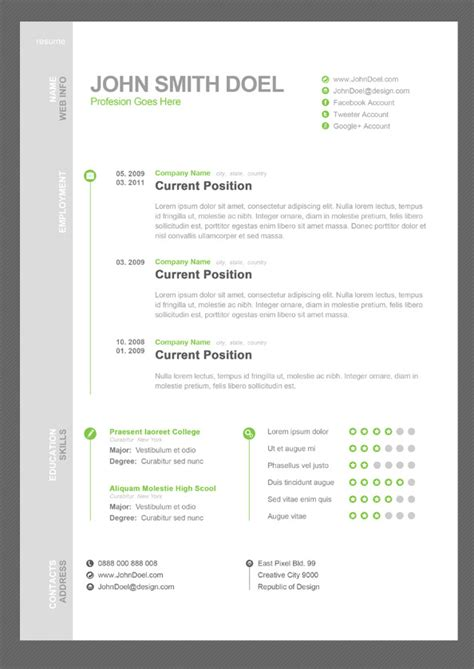 A Free Cv Template by 50 Free Resume Cv Templates