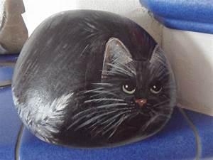 Steine Bemalen Katze : hndbemalter stein katze schwarz bei ebay bemalter stein bemalte steine katzen tiere auf ~ Watch28wear.com Haus und Dekorationen
