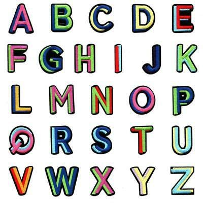 pcsset colorful english alphabet letter patches embroidered iron  sew patch ebay