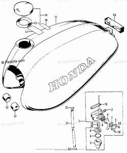 Honda Motorcycle 1976 Oem Parts Diagram For Fuel Tank