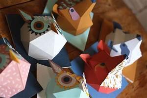 Trophée Animaux Origami : trophee design pliage origami papier tete hiboux renard raton laveur ~ Teatrodelosmanantiales.com Idées de Décoration