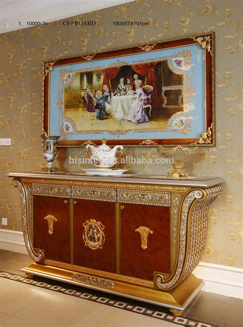 luxury french baroque style gold leaf sideboard