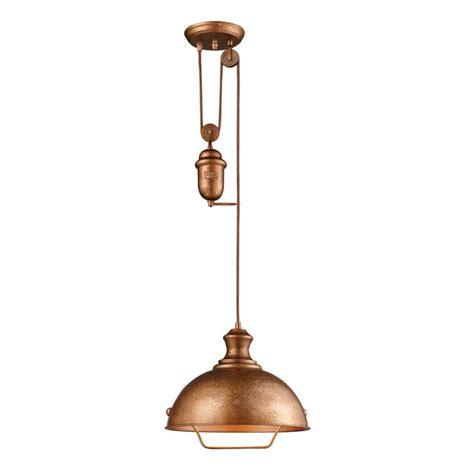 farmhouse pulley pendant light copper finish 65061 1