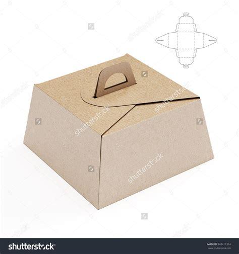 birthday cake box  handle  die cut template