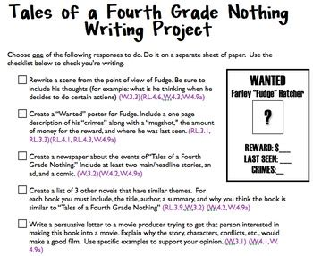 tales of a fourth grade nothing ccss literature packet teacher guide