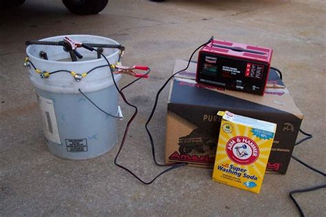 rust homemade removal remover electrolysis leaf electrolytic vacuum metal rebar remove cleaner chrome plastic tools homemadetools diy buckets constructed bucket