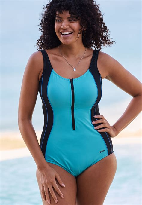 zip front swimsuit  size swim woman