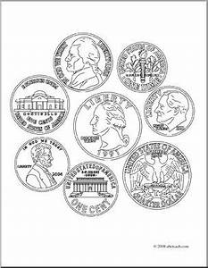 coins coloring page | School: Math ️ | Pinterest