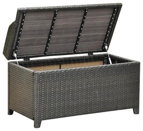 outdoor storage bench in antique black finish