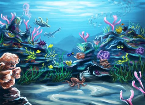 Animated Coral Reef Wallpaper - coral reef animated pencil and in color
