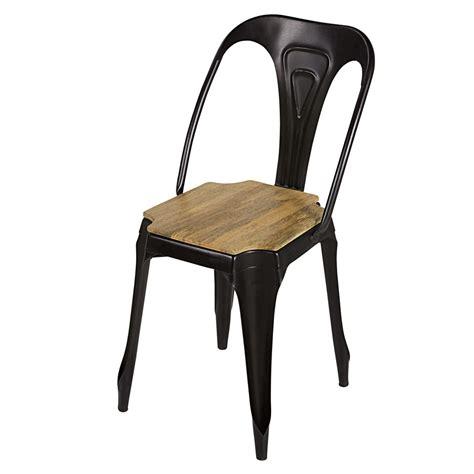 chaise en métal chaise indus en métal noir mat et manguier multipl 39 s