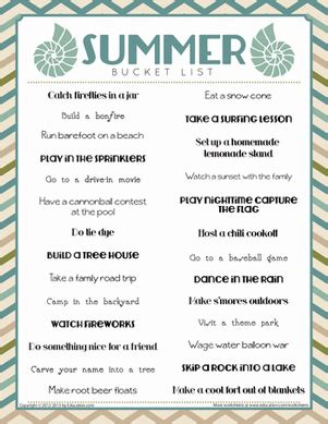 summer list worksheet education