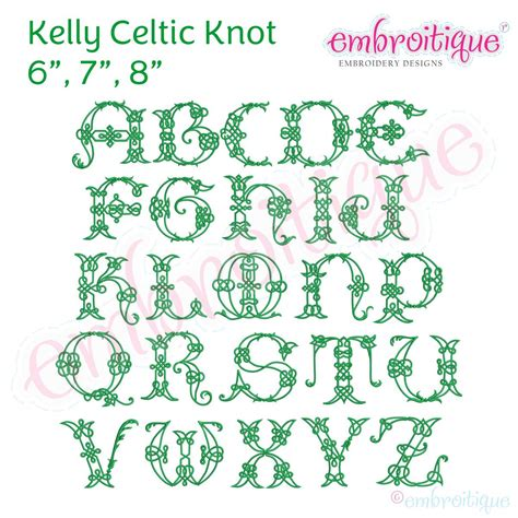 alphabets embroidery fonts kelly irish celtic knot full alphabet    embroitique