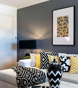 Peinture En Noir Et Blanc : un salon en gris et blanc c 39 est chic voil 82 photos qui en t moignent ~ Melissatoandfro.com Idées de Décoration