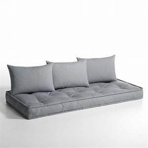 A poser sur palettes matelas et coussins pour banquette for Tapis exterieur avec matelas canapé futon