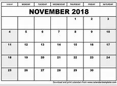 November 2018 Calendar 2018 calendar printable