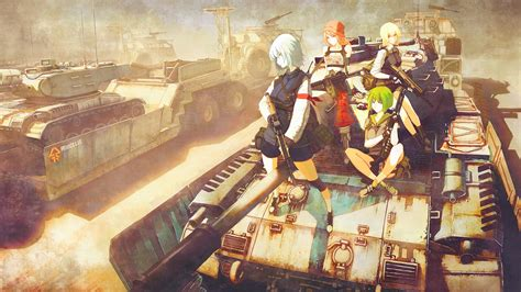 Anime War Wallpaper - wallpaper painting gun anime weapon tank