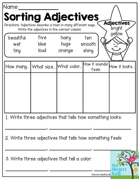 sorting adjectives adjectives describe a noun in many