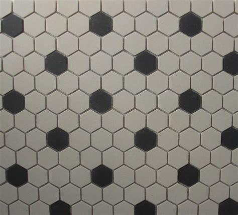 Hexagon Tile White & Black Unglazed 1 inch Mosaic Old