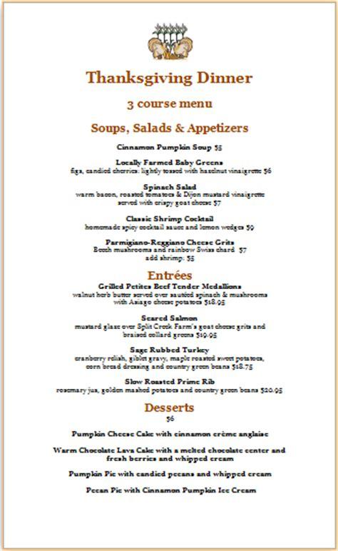 ms word thanksgiving dinner menu template word excel