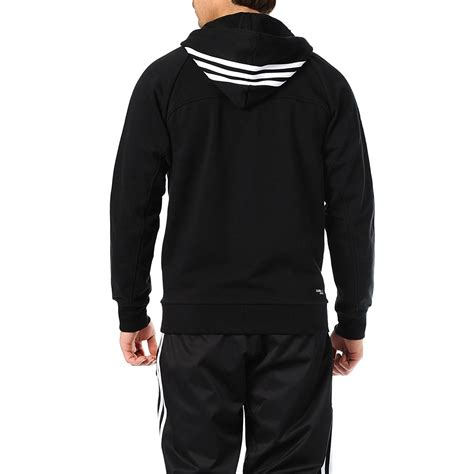 sweater with hoodie adidas performance mens zip 3 stripe hoodie sweater