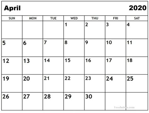 How to Manage Schedule Using April 2020 Calendar | in 2020 ...
