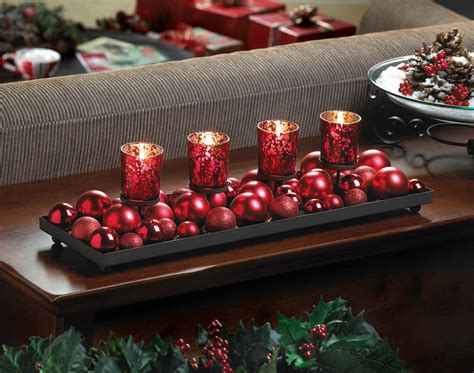 candles for christmas table red christmas ball ornament fireplace long centerpiece