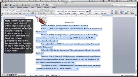formatting an apa style references page ms word for mac