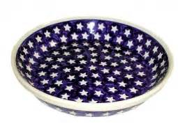 blue rose polish pottery blueberry pie plate