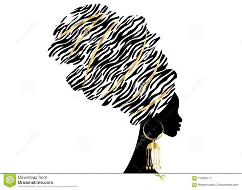 portrait beautiful african woman  traditional turban