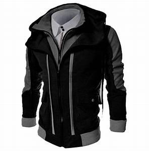 Slim Fit Double Zipper Patchwork Hoodies Sweatshirt Jacket