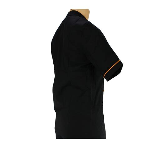 veste de cuisine homme noir vêtement de cuisine noir avec un liseré orange lisavet