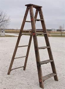 vintage, wooden, 6, step, ladder, -, rustic, display