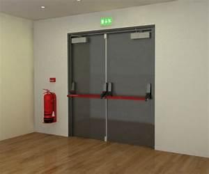 porte issue de secours industrimat fermetures With porte de garage sectionnelle avec serrure anti panique