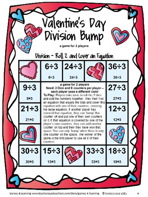 valentine s day activities valentine s day math games fourth grade math games division and math