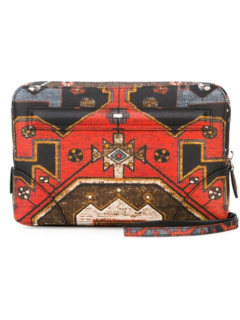 lyst givenchy persian print clutch  red