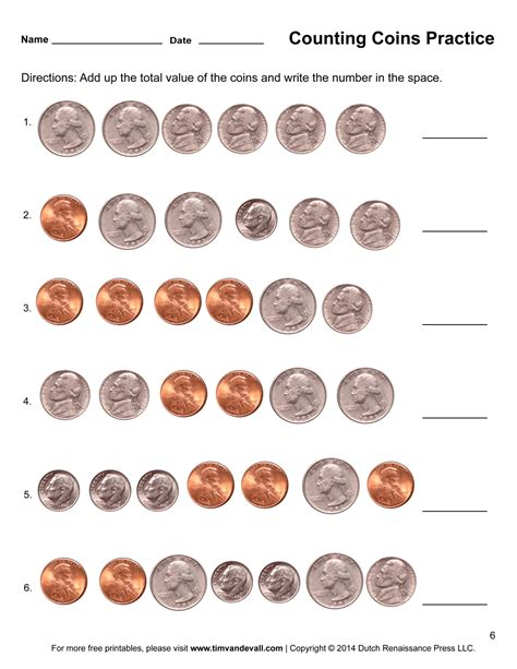 counting coins worksheets printable grade math