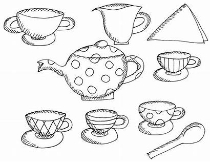 Tea Coloring Party Pages Printable Alice Wonderland
