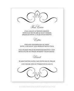 free wedding menu templates free printable wedding menu templates