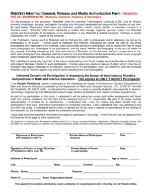 media authorization form fillable online robofest informed consent release and