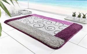 Teppich Grau Lila : 1 st badematte 90 x 160 lila grau silber teppich matte ~ Whattoseeinmadrid.com Haus und Dekorationen