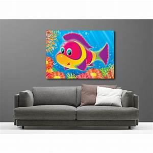 Deco Multicolore : tableaux toile d co rectangle poisson multicolore art d co stickers ~ Nature-et-papiers.com Idées de Décoration