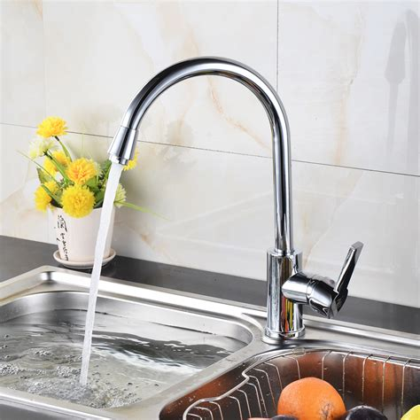 Modern Brass Kitchen Sink Faucet With Cold And Hot Water