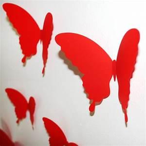 3d Schmetterlinge Wand : wandtattoo 3d schmetterlinge rot ~ Whattoseeinmadrid.com Haus und Dekorationen